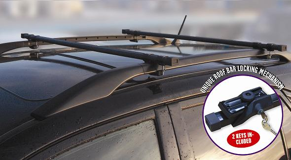 UNIVERSAL LOCKABLE ANTI THEFT CAR ROOF BARS FOR CARS WITH RAILS LOCKING ROOF BAR Enlarged Preview